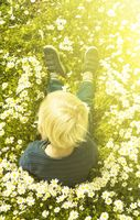 Blonde Child Sitting In A Daisy Flower Meadow