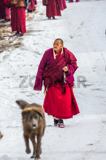 Seda,sichuan,china-Mar 08,2016,Monks at Seda buddhish college