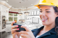 Female Contractor Using Smart Phone Over Kitchen Drawing Gradating to Photo