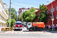 Heavy trucks Kamaz overlap the street