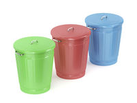 Green, red and blue trash cans