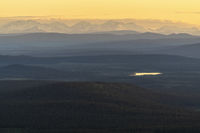 View to the mountains a bright summer night, Lapland, Sweden