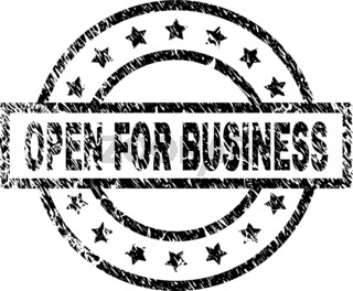 Scratched Textured OPEN FOR BUSINESS Stamp Seal