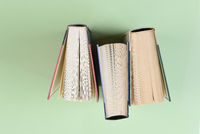 Over head shot of three text books standing on end on a light green background.