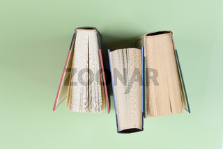 Over head shot of three text books standing on end on a light green background