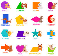 geometric shapes with dogs characters set