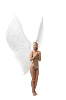 Pretty girl topless with beautiful white wings view
