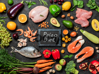 Paleo diet concept, top view or flat lay