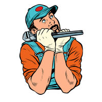 plumber with wrench dreamer thinks. isolate on white background