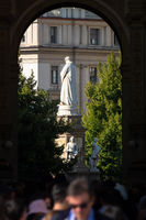 Monument of Leonardo da Vinci in Milan Italy
