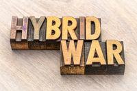 hybrid war text in wood type
