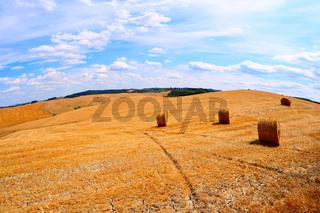 Tuscany with hay bales