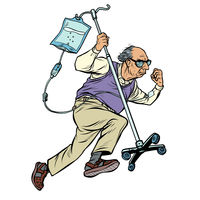 cheerful old man runs with a dropper. age stereotype ageism