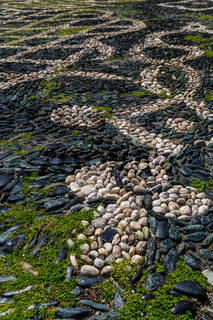 Full frame background of pebble pavement