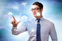 Businessman in fog and edge cloud computing concept