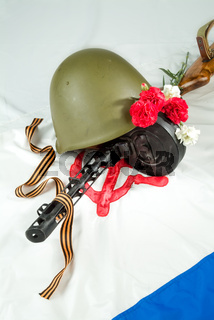 Flowers And Army Equipment