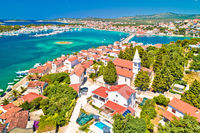 Adriatic town of Rogoznica aerial coastline view