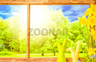 Rustic Wooden Window, Easter Bunny, Sunny Trees, Spring Flowers