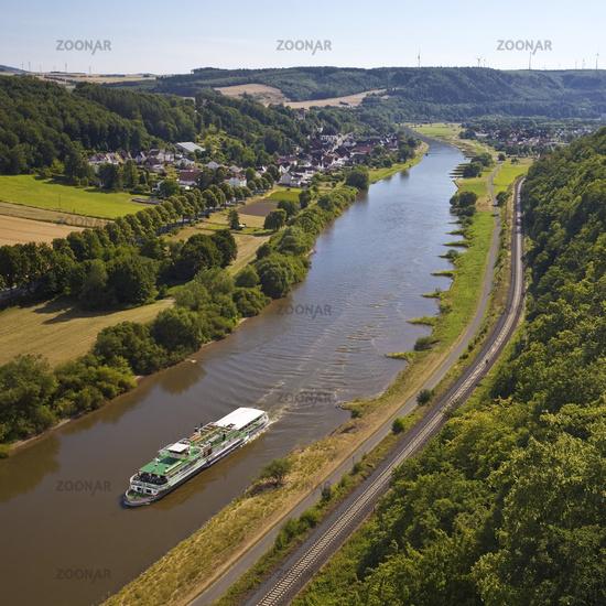 view from the Skywalk on the Weser, Beverungen, North Rhine-Westphalia, Germany, Europe