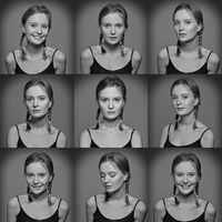Serie of Emotional woman's faces.