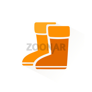 Rain boots icon with shadow. Flat vector illustration