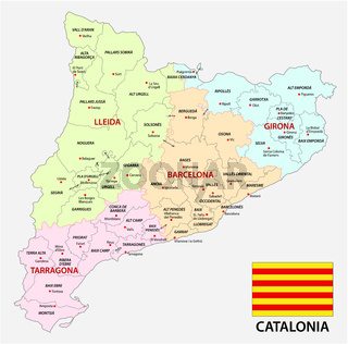 Catalonia administrative and political vector map with flag