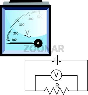 Vetor illustation of a voltmeter on white background.