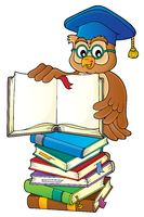 Owl teacher with open book theme image 3
