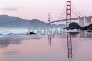 Golden Gate Bridge reflections at Marshall's Beach