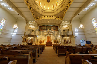 Oakland, California - September 30, 2018: Interior of Temple Sinai Reform Jewish Synagogue.
