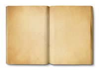Vintage open book isolated on white background