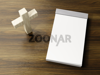 bright wooden cross symbol with space for text