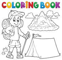 Coloring book hiker boy topic 1