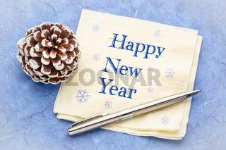 Happy New Year on a napkin