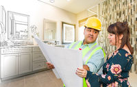 Hispanic Male Contractor Talking with Female Client Over Blueprint Plans In Front of Bathroom Drawing Gradating to Photo