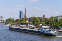 Frankfurt am Main with ship and ECB