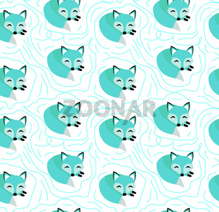 Blue fox seamless pattern. Kids, Baby endless background, repeating texture. Vector illustration.