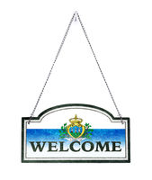 San Marino welcomes you! Old metal sign isolated