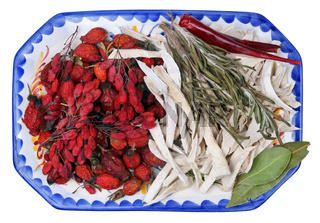 Red autumn dried  berries of forest hips,  barberry. horseradish and thyme contain a large amount of vitamin C.