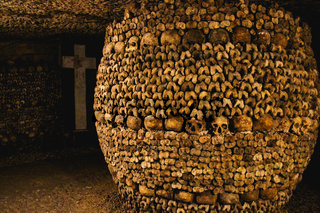 The catacombs of Paris in France