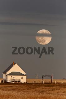 Country Church Full Moon