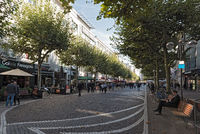 the fressgass upmarket shopping street in the city centre of  frankfurt am main germany