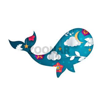Paper whale illustration. Cartoon origami landscape.