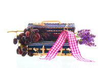 picnic suitcase with grapes and Lavender