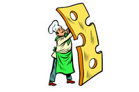 little chef with a piece of cheese