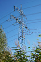 high-voltage transmission tower or pole or electricity pylon