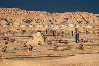 gobi oil field at dusk