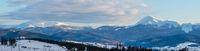 Evening winter cloudy day mountain ridge