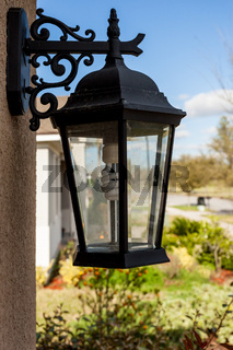 Outdoor Porch Lantern Light Fixture Mounted on House with Eco Friendly Light Bulb