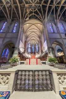 San Francisco, California - December 1, 2018: Interior of Grace Cathedral Nave.